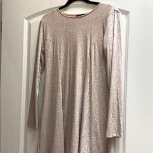 Long sleeve gold sparkle dress